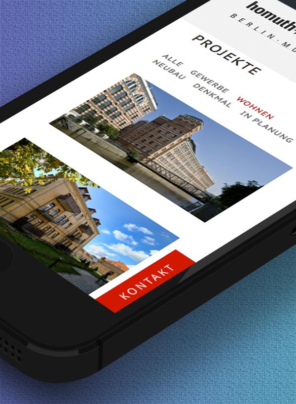 Mobile Darstellung der neuen Website