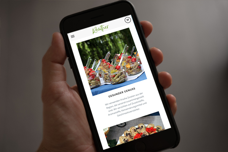 Mobile Ansicht der Website