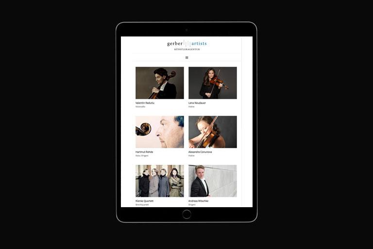 Ansicht der Künstlerübersicht auf der neuen Website